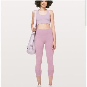 LULULEMON Pink Ribbed Wunder Under Tight Sz 4
